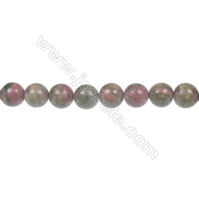 Round Unakite  beaded strand beads in diameter 8 mm  hole 1 mm  50 beads /strand 15 ~ 16 ''