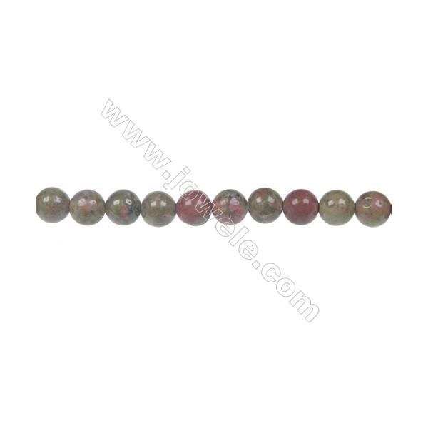 Round Unakite  strand beads in diameter 6 mm  hole 1 mm  65 beads /strand 15 ~ 16 ''