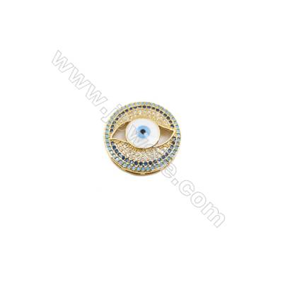 20mm  Brass Beads  Round  (Gold  Rhodium  Black  Rose Gold) Plated  CZ Micropave  10pcs/pack