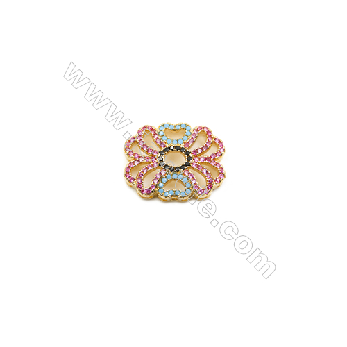 16x20mm  Brass Beads  Floral  (Gold  Rhodium  Black  Rose Gold) Plated  CZ Micropave  hole 1mm  10pcs/pack