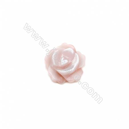 Sea shell rose design pink mother-of-pearl, 8mm, hole 1mm, 20pcs/pack