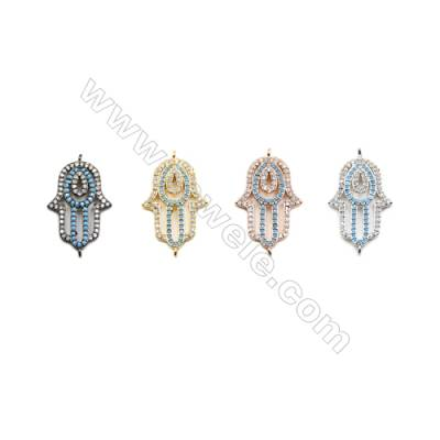 16x23mm  Brass Connectors, Palm, (Gold, White gold, Black, Rose Gold) Plated, CZ Micropave, hole 1mm, 10pcs/pack