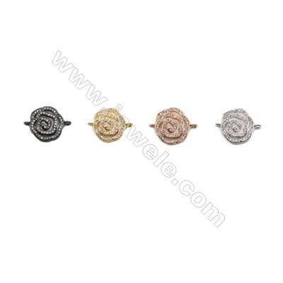 15x15mm  Brass Connectors, Rose, (Gold, White gold, Black, Rose Gold) Plated, CZ Micropave, hole 1mm, 20pcs/pack