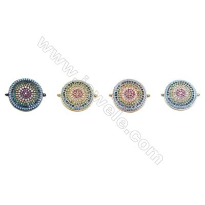 20mm  Brass Connectors, Round, (Gold, White gold, Black, Rose Gold) Plated, CZ Micropave, hole 1mm, 10pcs/pack