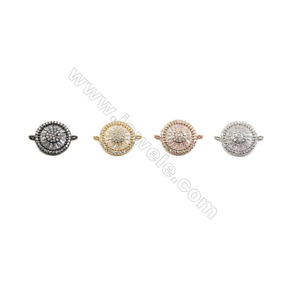 15mm  Brass Connectors, Round, (Gold, White gold, Black, Rose Gold) Plated, CZ Micropave, hole 1mm, 10pcs/pack