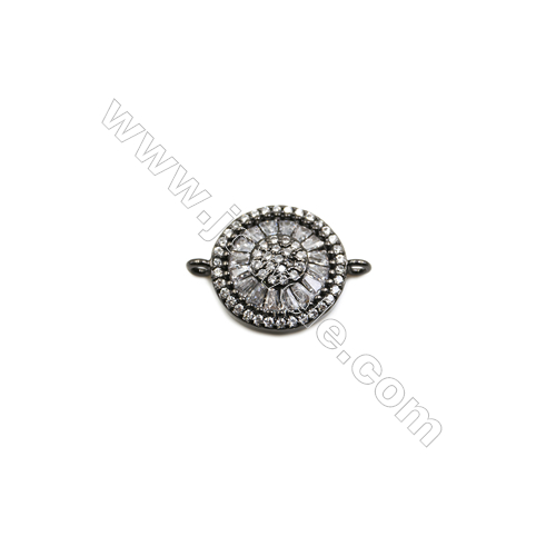 15mm  Brass Connectors  Round  (Gold  Rhodium  Black  Rose Gold) Plated  CZ Micropave  hole 1mm  10pcs/pack