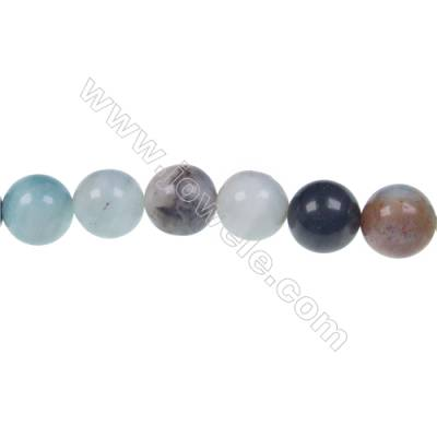 Black  Amazonite round beaded strand in diameter 8 mm  hole diameter 1 mm 49 beads /strand 15 ~ 16 ''