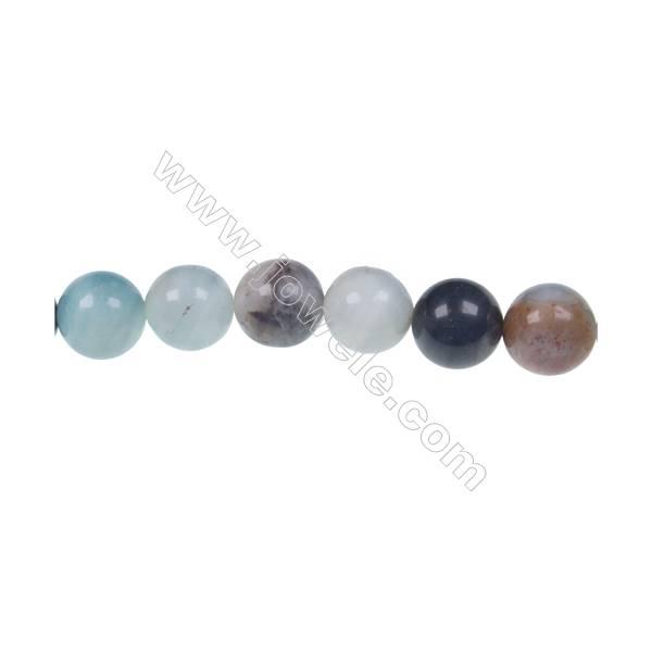 Black  Amazonite round beaded strand in diameter 8 mm  hole diameter 1 mm 49 beads /strand 15 ~ 16 ''