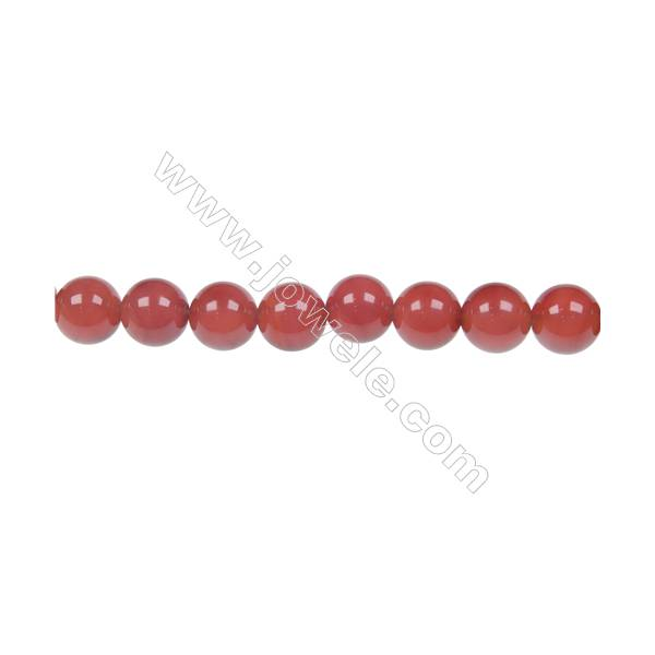 Round agate red  strand beads in diameter 8 mm  hole diameter 1.2 mm 48 beads /strand 15 ~ 16 ''