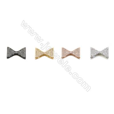 8x18mm  Brass Beads  Tie  (Gold  Rhodium  Black  Rose Gold) Plated  CZ Micropave  20pcs/pack