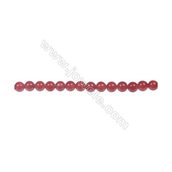 Round agate red  beaded strand in diameter 4 mm  hole diameter 0.8 mm  94 beads /strand 15 ~ 16 ''