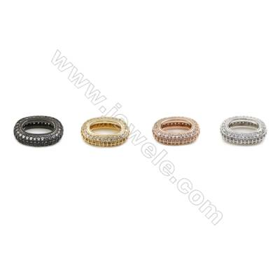 12x18mm  Brass Beads, Circle, (Gold, White gold, Black, Rose Gold) Plated, CZ Micropave, 10pcs/pack