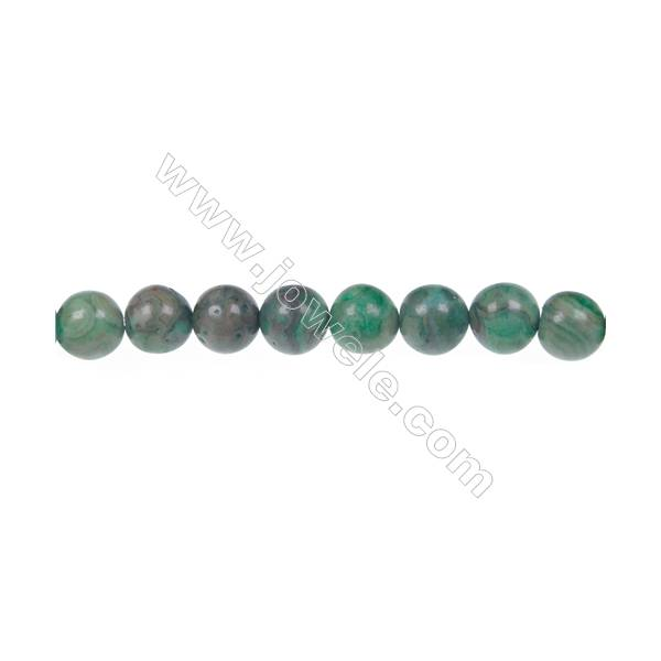 Dyed green crazy agate round strand beads in diameter 8 mm  hole 1.2 mm  50 beads /strand 15 ~ 16 ''