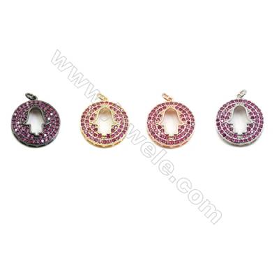 20mm  Brass Pendants  Round  (Gold  Rhodium  Black  Rose Gold) Plated  CZ Micropave  10pcs/pack
