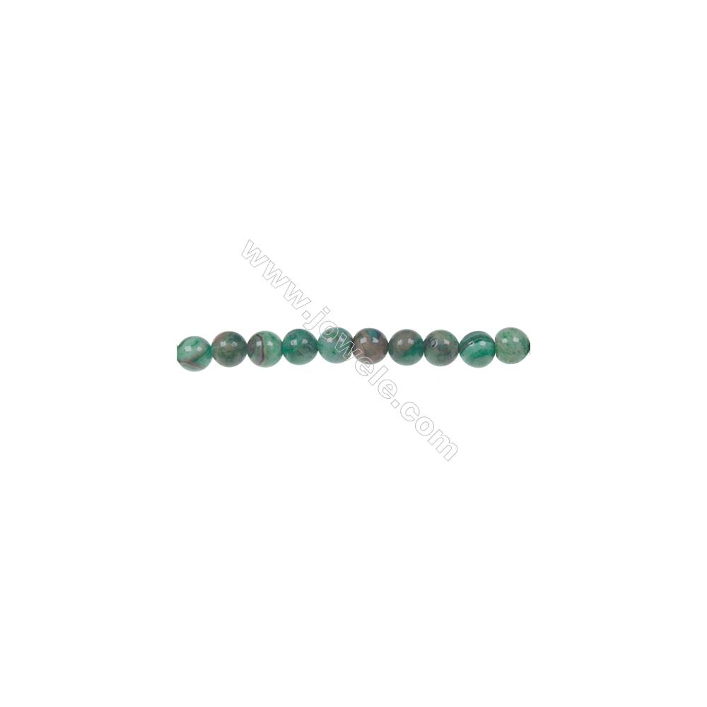 Dyed green agate round strand beads in diameter 6 mm  hole 1 mm  67 beads /strand 15 ~ 16 ''