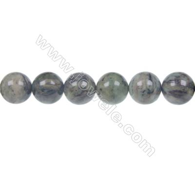 Dendrite green jade round strand beads, Diameter 12mm, Hole 1.5 mm, 34beads/strand 15 ~ 16""