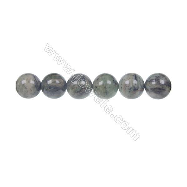 """Dendrite green jade round strand beads, Diameter 12mm, Hole 1.5 mm, 34beads/strand 15 ~ 16"""""""
