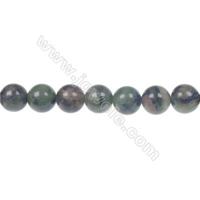 Dendrite green jade round strand beads, Diameter 10mm, Hole 1.5 mm, 41beads/strand 15 ~ 16""