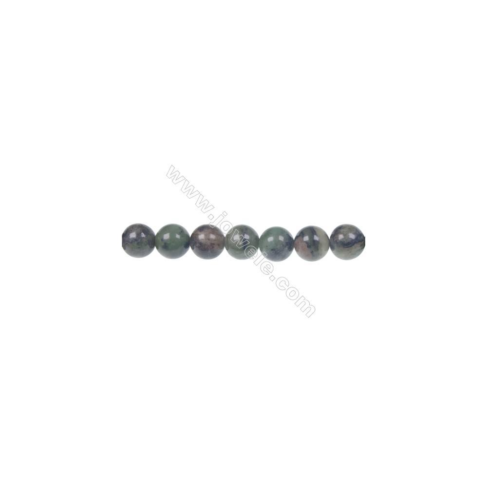 """Dendrite green jade round strand beads, Diameter 10mm, Hole 1.5 mm, 41beads/strand 15 ~ 16"""""""