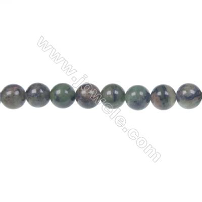 Dendrite green jade round strand beads, Diameter 8mm, Hole 1.2mm, 50 beads/strand 15 ~ 16""