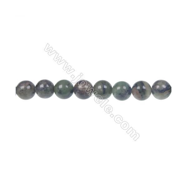 """Dendrite green jade round strand beads, Diameter 8mm, Hole 1.2mm, 50 beads/strand 15 ~ 16"""""""