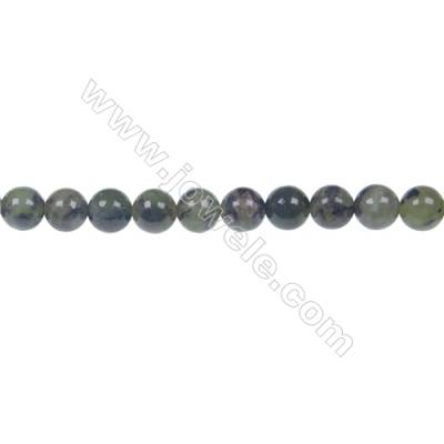 Dendrite green jade round strand beads, Diameter 6mm, Hole 1mm, 65 beads/strand 15 ~ 16""