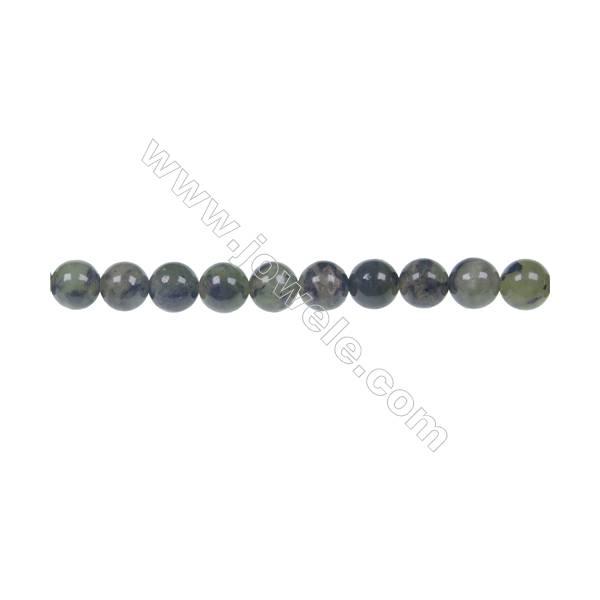 """Dendrite green jade round strand beads, Diameter 6mm, Hole 1mm, 65 beads/strand 15 ~ 16"""""""