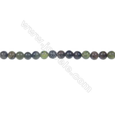 Dendrite green jade round strand beads, Diameter 4 mm, Hole 0.8 mm, 97 beads/strand 15 ~ 16""