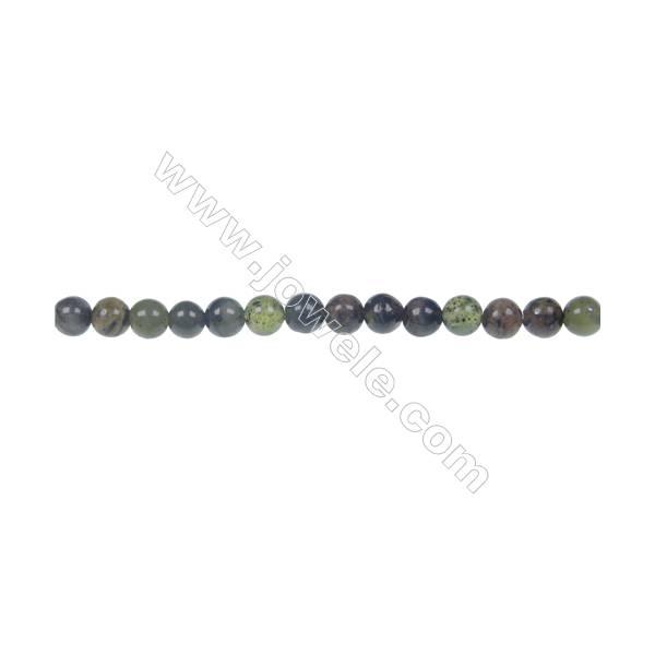 """Dendrite green jade round strand beads, Diameter 4 mm, Hole 0.8 mm, 97 beads/strand 15 ~ 16"""""""