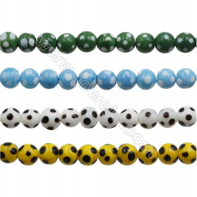 Handmade Lampwork Beads  Round with spot  Mixed Color  12mm  Hole: 1.8mm  about 33 beads/strand  15~16""