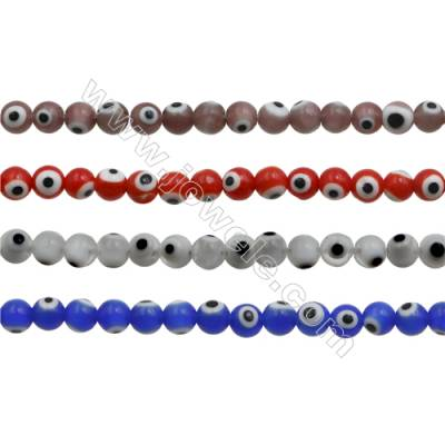 Handmade Lampwork Beads  Round with Evil Eye  Mixed Color  6mm  Hole: 1mm  about 64 beads/strand  15~16""