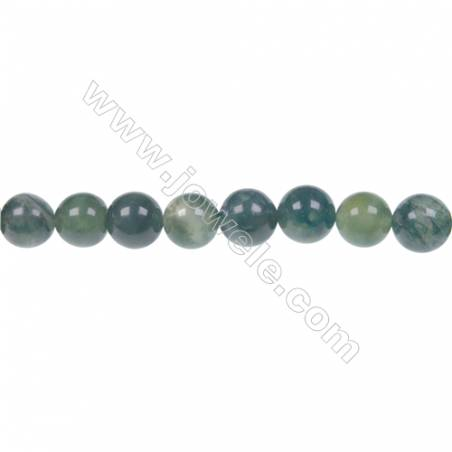 Moss agate round beaded strand in diameter 8 mm  hole diameter 1.2 mm  48 beads /strand 15 ~ 16 ''