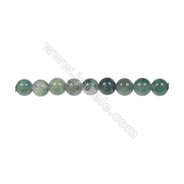 Moss agate round beaded strand in diameter 6 mm  hole diameter 1 mm  62 beads /strand 15 ~ 16 ''