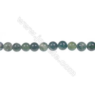 Moss agate round beaded strand in diameter 4 mm  hole diameter 0.8 mm  87 beads /strand 15 ~ 16 ''