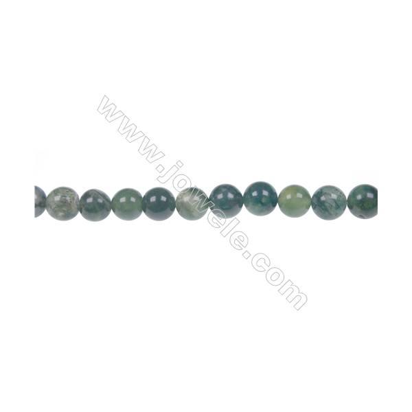 Moss agate round beaded strand in diameter 4 mm  hole diameter 0.8 mm  87 beads /strand 15 ~ 16 ''