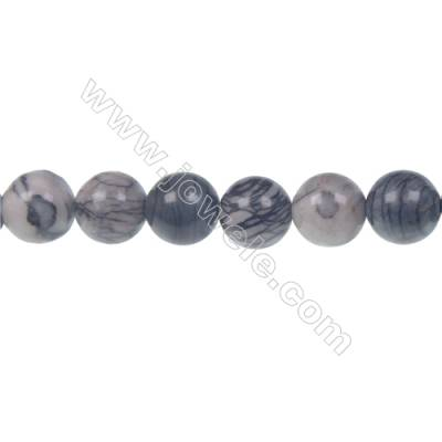 Black Picasso round strand beads, Diameter 10 mm, Hole 1.5 mm, 41 beads /strand 15 ~ 16''