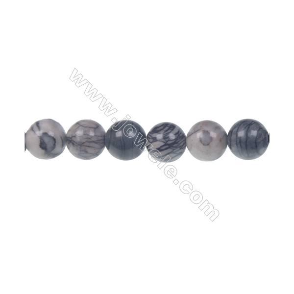 Black Picasso round strand beads, Diameter 10 mm, Hole 1.5 mm, 41 beads /strand 15 ~ 16''