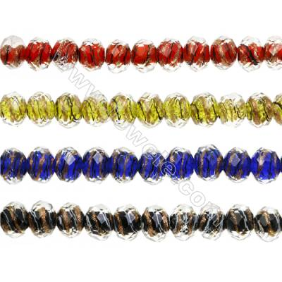 Lampwork Beads  Faceted Abacus  Mixed Color  9x12mm  Hole: 1.5-2mm  about 44 beads/strand  15~16""
