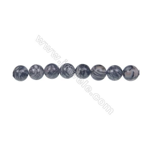 Black Picasso round strand beads, Diameter 8 mm, Hole 1.2 mm, 51 beads/strand 15 ~ 16''