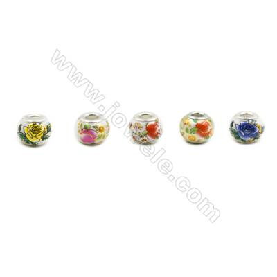 Handmade Lampwork Europeans Style Beads  Silver Color Brass Core  10x14mm  Hole: 5mm  50pcs/pack