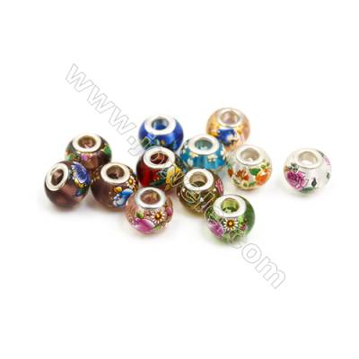 Handmade Lampwork Europeans Style Beads  Silver Color Brass Core  11x14mm  Hole: 5mm  50pcs/pack