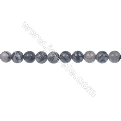 Black Picasso round strand beads, Diameter 6 mm, Hole 1 mm, 66 beads/strand 15 ~ 16''