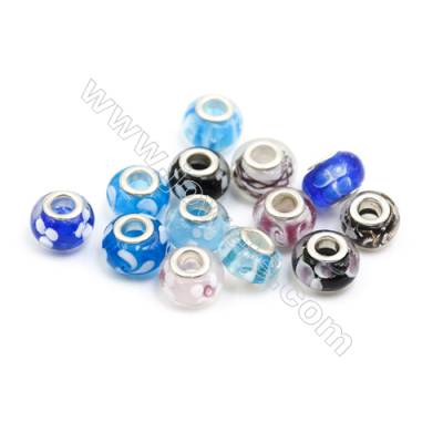 Handmade Lampwork Europeans Style Beads  Silver Color Brass Core  10x13mm  Hole: 5mm  300pcs/pack