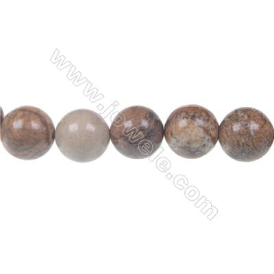 Picture jasper round beaded strand, Diameter 12 mm, Hole 1.5 mm, 33 beads/strand 15 ~ 16''