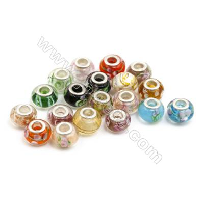 Handmade Lampwork Europeans Style Beads  Silver Color Brass Core  10x14mm  Hole: 5mm  300pcs/pack