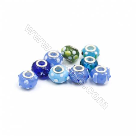 Handmade Lampwork Europeans Style Beads  Silver Color Brass Core  11x15mm  Hole: 5mm  300pcs/pack