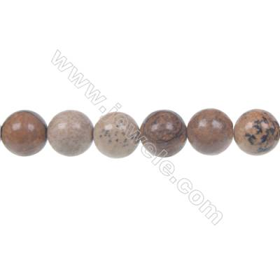 Picture jasper round strand beads, Diameter 10 mm, Hole 1.2 mm, 41 beads/strand 15 ~ 16''