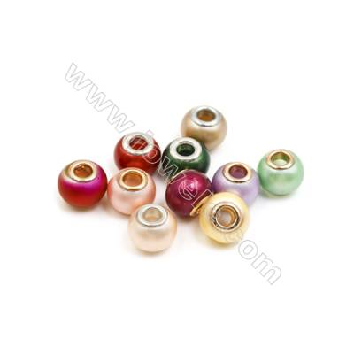 Handmade Lampwork Europeans Style Beads  Silver/gold Color Brass Core  11x15mm  Hole: 5mm  100pcs/pack