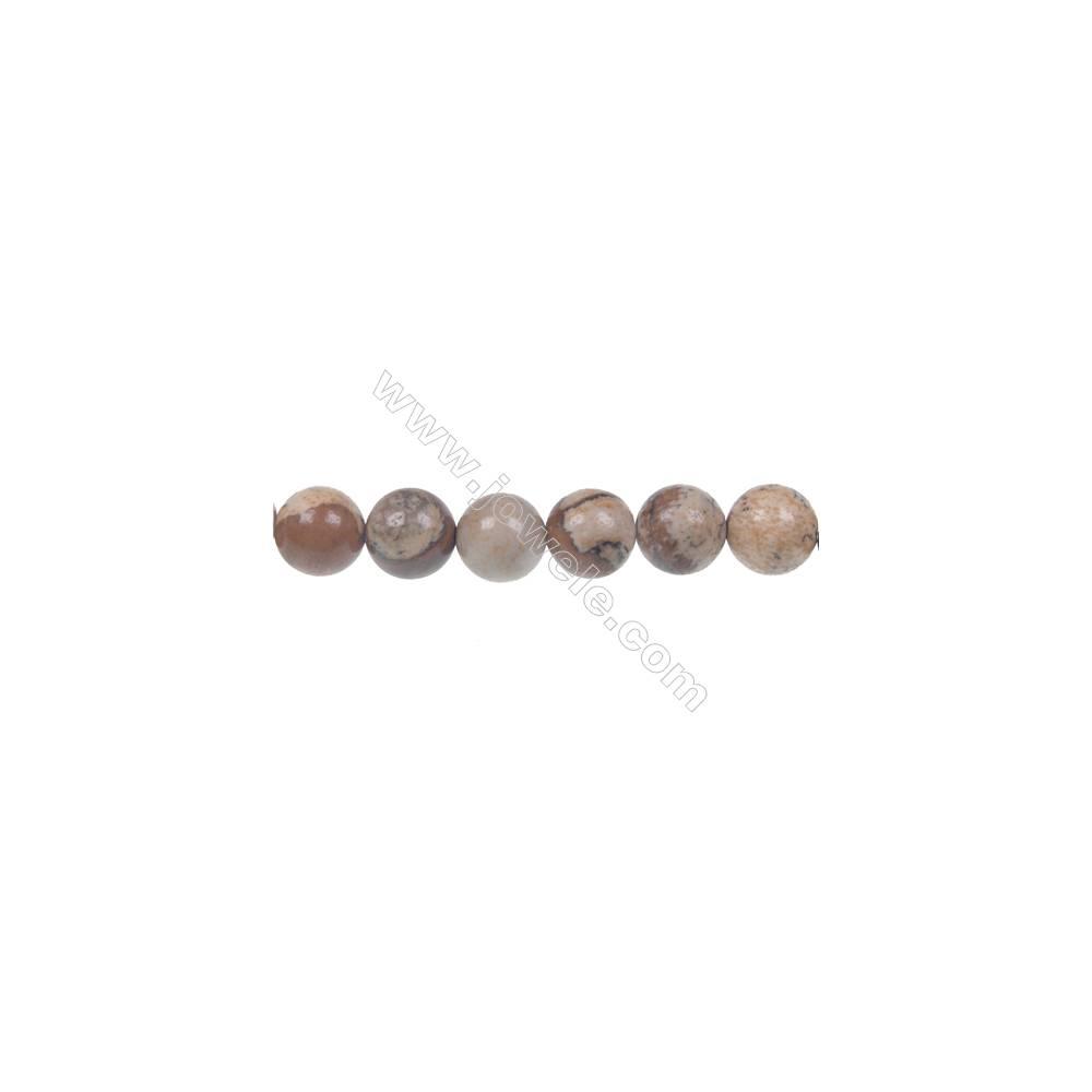 Picture jasper round strand beads, Diameter 8 mm, Hole 1 mm, 48 beads/strand 15 ~ 16''