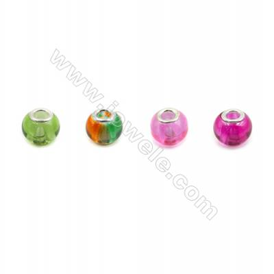 Handmade Lampwork Europeans Style Beads  Silver Color Brass Core  11x15mm  Hole: 5mm  100pcs/pack